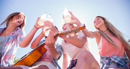 дружба : Teen friends saying cheers to each other with alcopops outdoors sitting together on a jetty with sun flare Стоковые видеозаписи