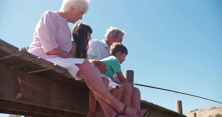 ryba : Retired grandparents sitting happily with their grandchildren on a jetty while on summer vacation Panning in Slow Motion