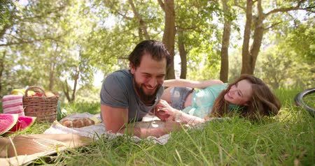 борода : Laughing guy tickling his giggling girlfriend on a picnic blanket in a park in Slow Motion Стоковые видеозаписи
