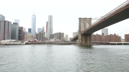 new world : Manhattan with World Trade Center and Brooklyn Bridge from ferry Stock Footage
