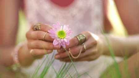 Çingene : Cropped closeup of a girls hands holding a flower while sitting on a lush green grass in a summer park