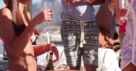african decent : Beautiful, laughing mixed race girl wearing a bikini, holding a glass of champagne and enjoying a party with friends on a yacht on a summer day Stock Footage