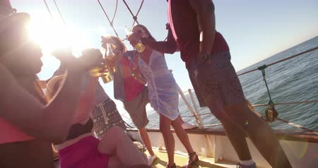 african decent : Portrait shot of a multi ethnic group of friends smiling at the camera while laughing and drinking on the deck of a yacht Stock Footage