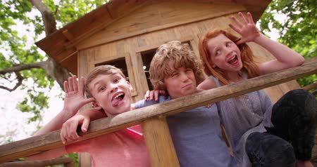 ostoba : Three children posing in a treehouse and pulling funny faces at the camera on a summer day