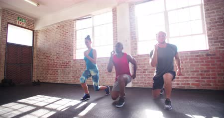 tornaterem : Multi-ethnic group of friends doing jumping lunges during a crossfit workout in the gym Stock mozgókép