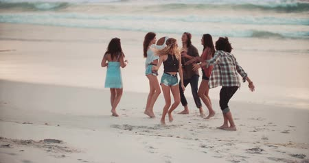 amigos : Hipster Multi-Ethic group of friends dancing together and moving in front of the sea on a sandy beach coastline Vídeos