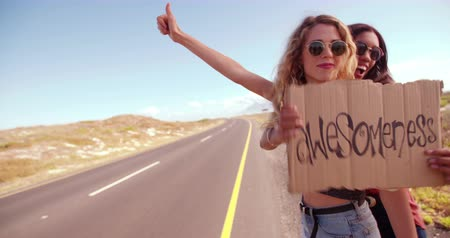 african decent : Caucasian Hipster girl and African American hipster girl in the daytime stand on side of two lane highway hitchhiking while holding cardboard sign with the word Awesomeness written on it