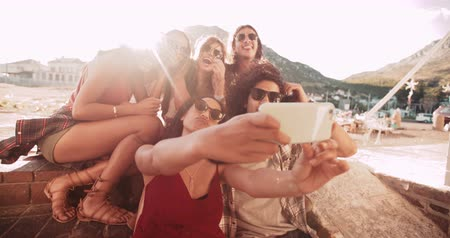 amigos : Road trip friends at a harbour. Mixed race man and woman and caucasian woman taking a selfie Vídeos