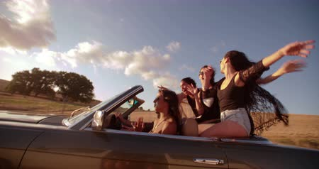 road : Group of teenager friends enjoying a road trip rasing arms