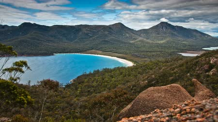 tasmania : Timelapse of the landmark Wineglass Bay in Tasmania, Australia