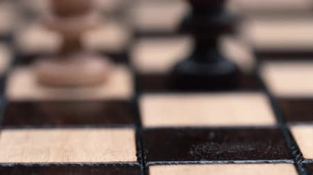 rook : chess closeup, wooden chess board, business concept, black background. slide camera. Studio. Stock Footage