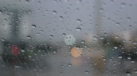 clear liquid : Drops of rain fell on the car on the road. Stock Footage
