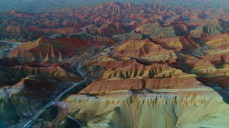 Rainbow Mountains of Zhangye Danxia, one of the most amazing landscapes in the world. Aerial view on one of the most beautiful sections of Zhangye Danxia Rainbow Mountains showing striped pattern on sandstone hills. Part 1 of a 2 part series which can be