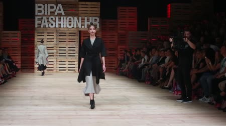 ZAGREB, CROATIA - OCTOBER 27, 2018 : Fashion models wearing clothes for autumn-winter, designed by Ana Marija Ricov on the Bipa Fashion.hr fashion show in Zagreb, Croatia.