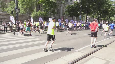 VIENNA, AUSTRIA, MAY 06 2018, WINGS FOR LIFE WORLD RUN MARATHON: Athletes marathon run camera back slow motion Stok Video