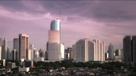 sunset city : Jakarta city sunset time lapse