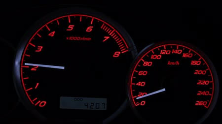 prędkość : a sports car instrument panel, showing rpm and high speed acceleration with turbo sound Wideo