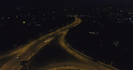 uzun : Aerial view of traffic in the night Stok Video