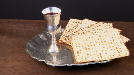 pascha : Pesach Still-life with wine and matzoh jewish passover bread