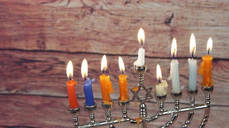 натюрморт : Jewish holiday Hanukkah creative background with menorah. View from above focus on .