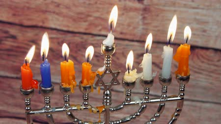 judaizm : Jewish holiday Hanukkah creative background with menorah. View from above focus on .