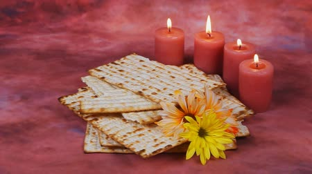 pascha : Background with matzo and wine for Jewish Passover celebration