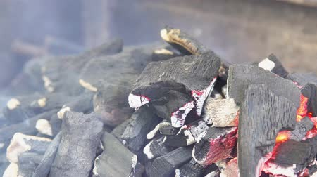 piknik : Coals burning in the brazier for barbecue. Stok Video
