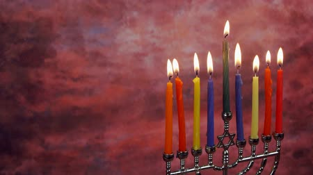 menorah : Jewish holiday Hanukkah creative background with menorah. View from above focus on .