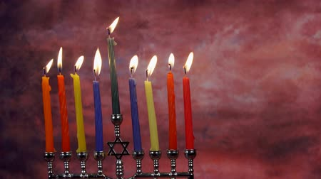 yahudi : Jewish holiday Hanukkah creative background with menorah. View from above focus on .
