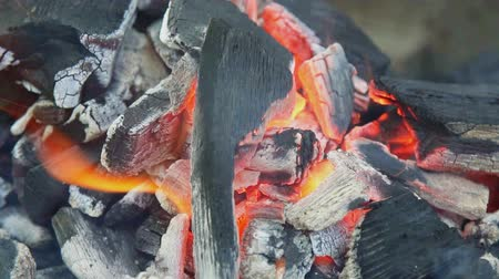 węgiel : Burning charcoal with orange-colored flame and glow Selective Focus, Focus on parts of the charcoal pieces around the flame Wideo