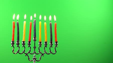 menorah : Hanukkah menorah with candles on greenscreen