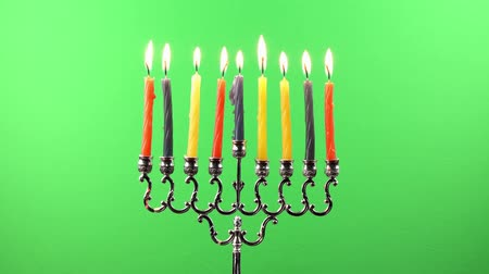 menorah : Hanukkah menorah candles greenscreen Stock Footage