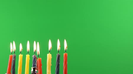 освещенный : Jewish holiday Hanukkah background on greenscreen religion