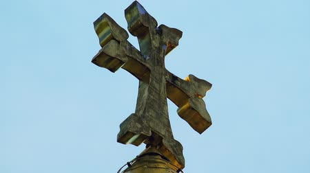 bell tower : Armenian church cross sky