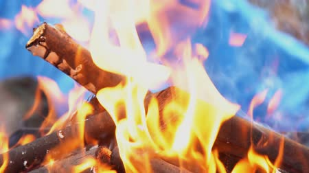 ember : Fire burning in slow motion with wood falling