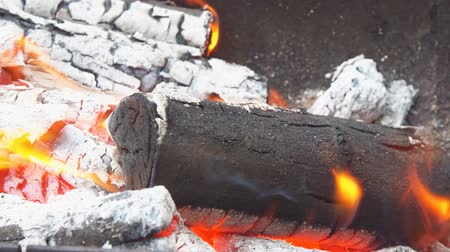 şenlik ateşi : Flames and smoke from burning wood slow motion