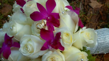 розы : Wedding bridal bouquet of roses Стоковые видеозаписи