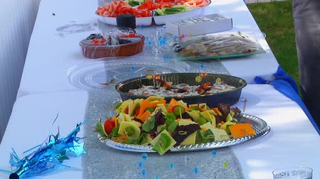 şerefe : Food Buffet Catering Dining Eating Party Sharing Concept Stok Video