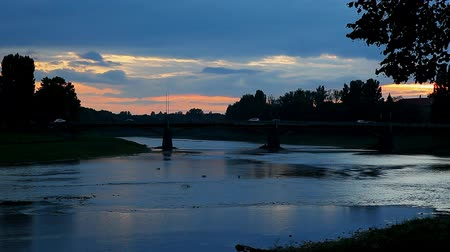kamış : sunset on the river city Uzghorod