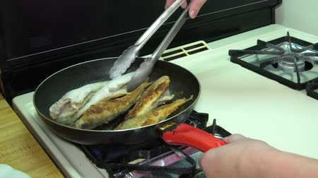 bluefish : Cook cleaning bluefish on the scales