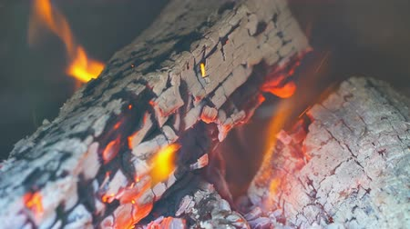 open hearth : Fire burning in slow motion with wood falling