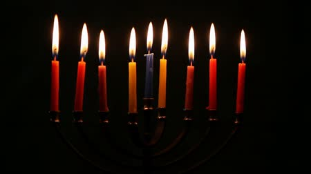подсвечник : Hanukkah menorah with candles happy burning