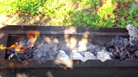 şenlik ateşi : charcoal fire grill, close up with flames