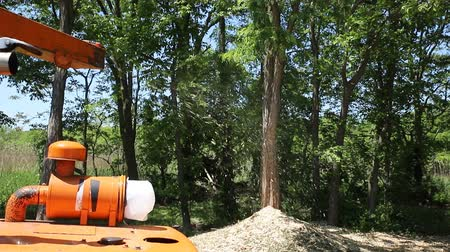Removal and crushing of leaves and other plant waste in parks and forest parks Agricultural machinery, wood shredder chipper machine to remove