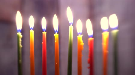 titular : Brightly Glowing Hanukkah Menorah soft focus Stock Footage