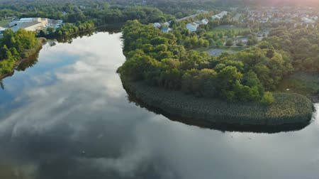 Aerial view of beautiful garden park with trees and river the sleeping area from panorama
