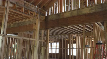 prkna : Wood framing work in progress with wood framing walls and ceiling or floor joist on new construction building