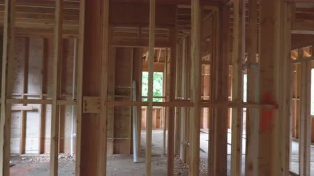 dach : Wood Building frame at Multi-Family Housing Construction Wideo