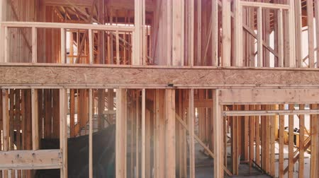 truss : Wood Building frame at Multi-Family Housing Construction Stock Footage