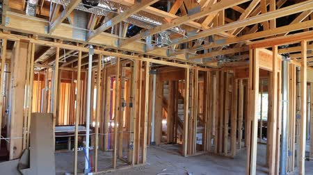 truss : New Construction Wood Home Framing Abstract. Stock Footage